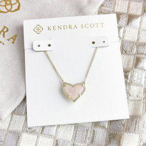 Ari Heart Pendant Necklace   Gold   Rose Quartz
